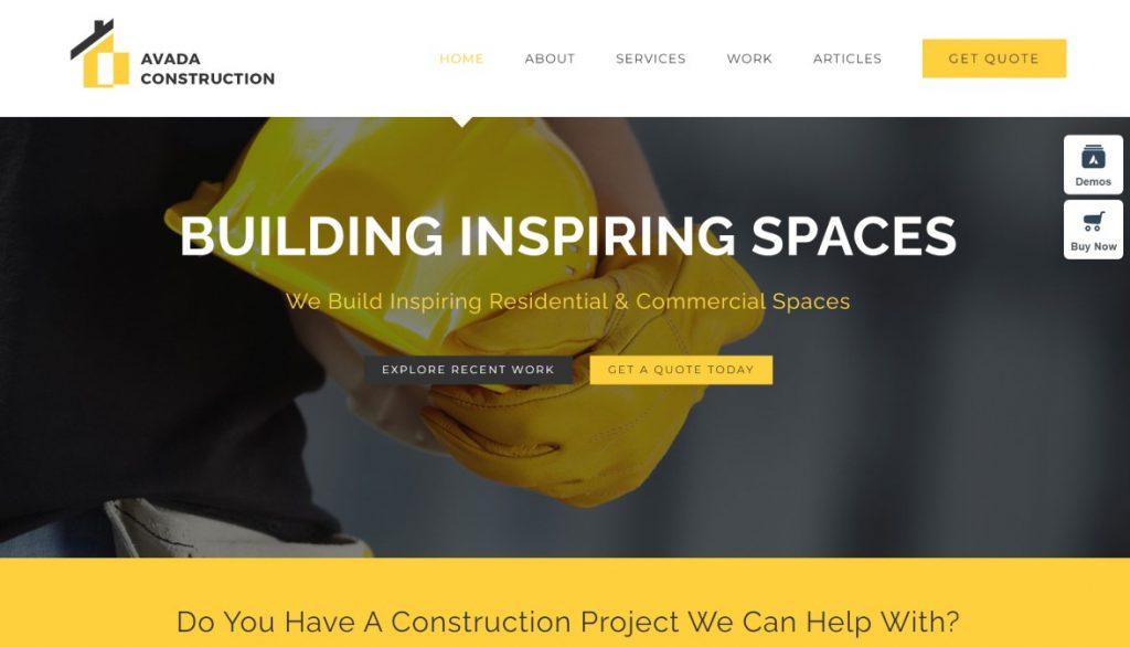 Avada Construction company WordPress theme