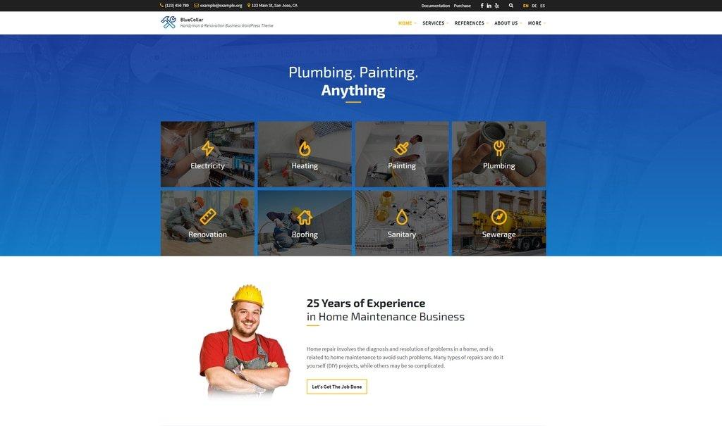 BlueCollar- handyman and renovation business wordpress theme demo ss