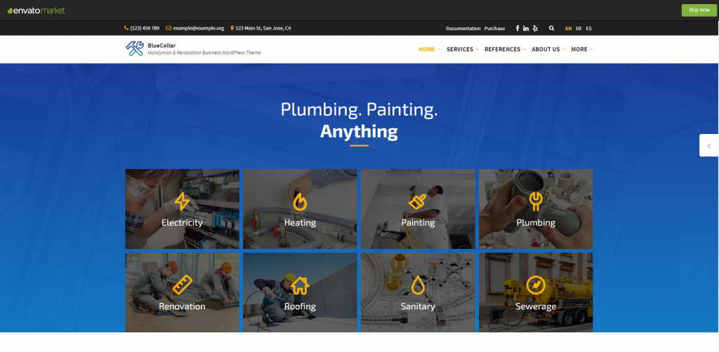 Blue Collar- wordpress themes for home services