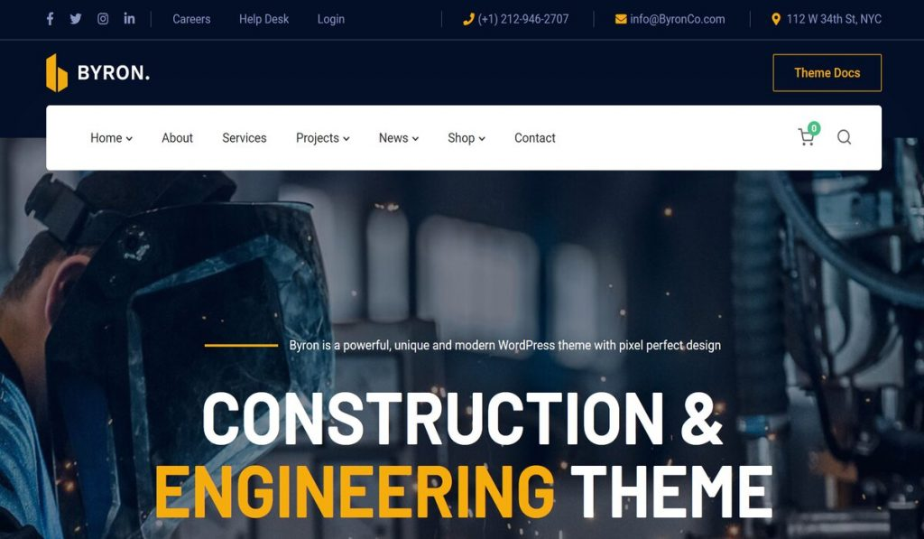 Byron-wordpress theme for construction, engineering, industrial and renovation companites