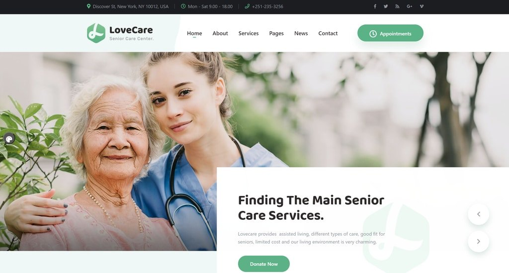 Lovecare-Senior care wordpress theme demo screenshot