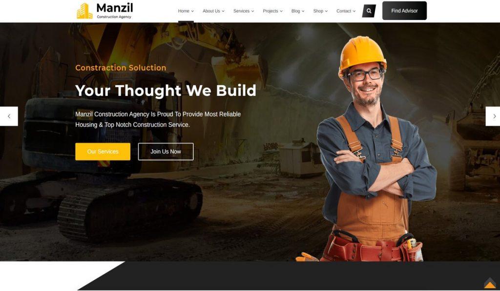 Manzil construction wordpress theme