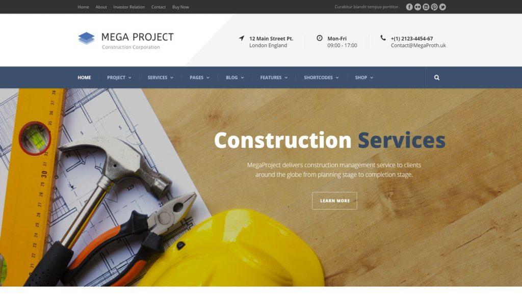 mega project-wordpress theme for construction company