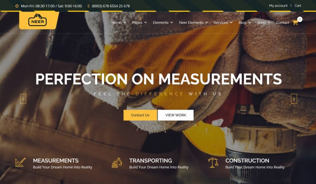 Neer- wordpress theme for Construction businesses