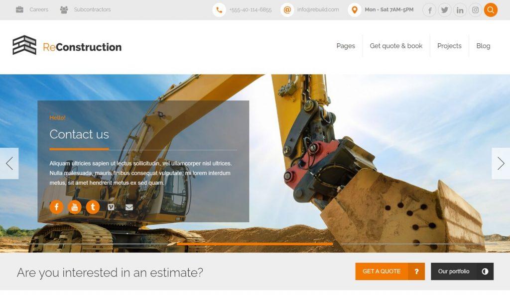 Reconstruction-wordpress construction company theme