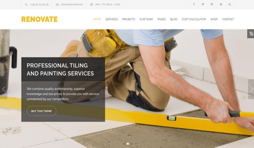 Renovate wordpress theme for construction companies
