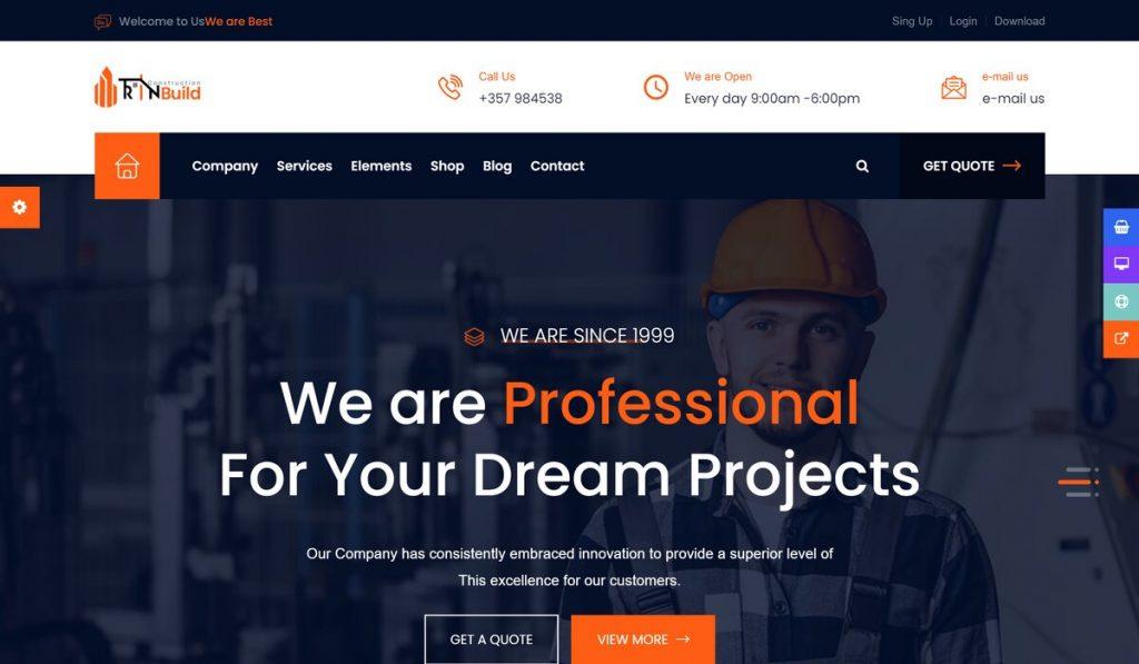 Rin build- construction company wordpress theme