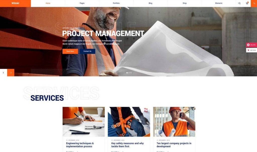 Wilmer construction company wordpress theme