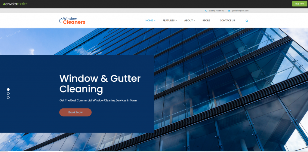 window cleaning, air conditioning and heating services wordpress theme