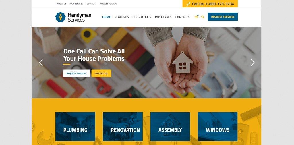 handyman services theme demo screenshot