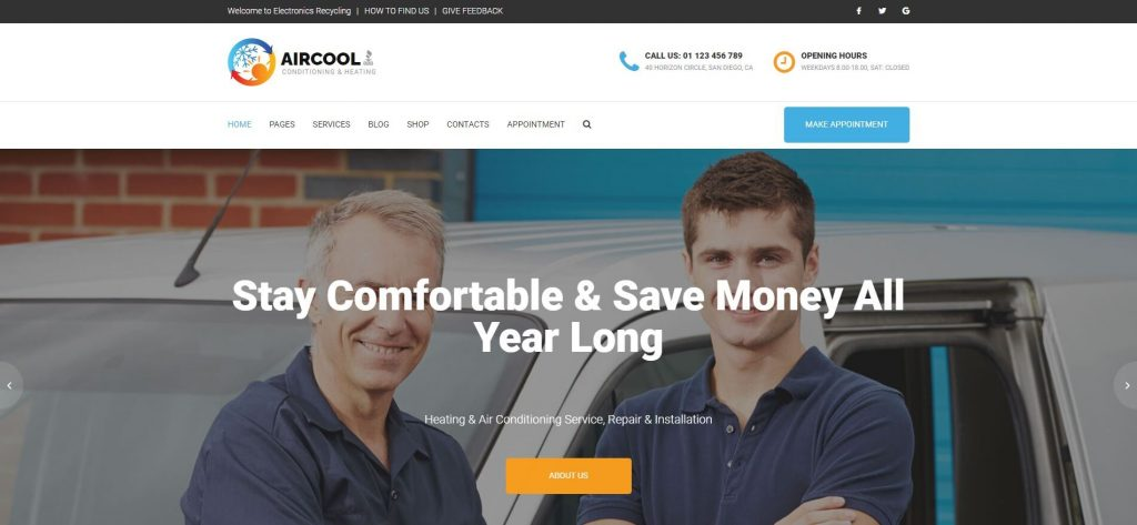 AirCool Best HVAC wordpress themes