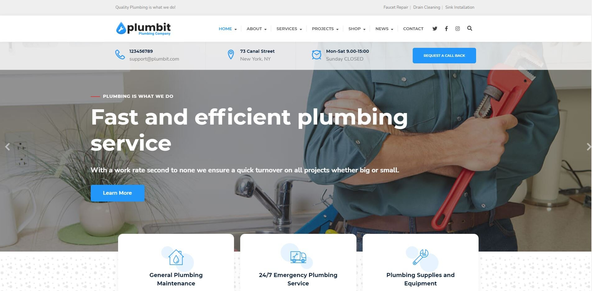 Wordpress plumbing theme