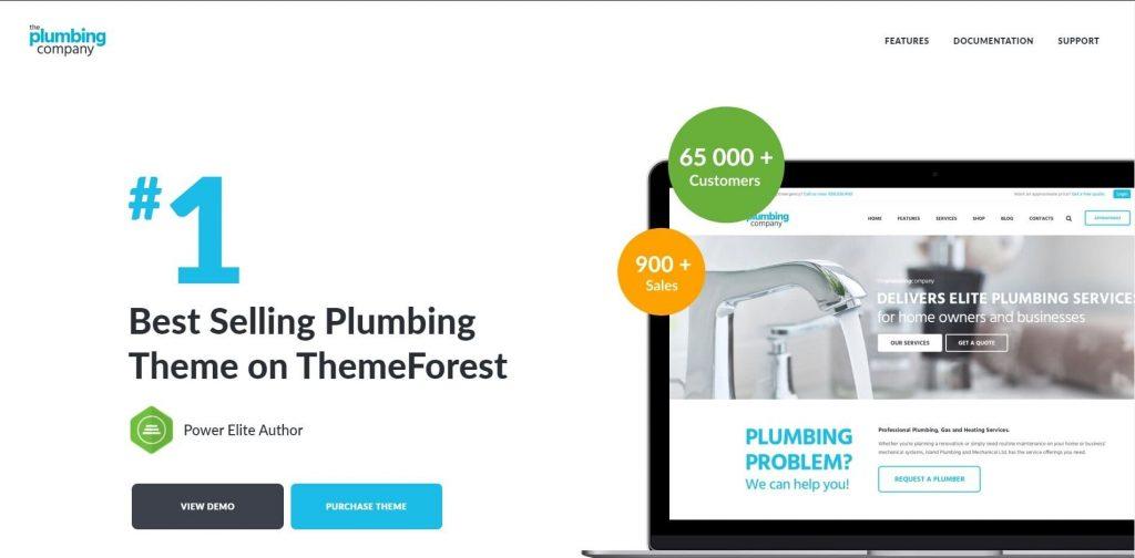 The plumbing company demo screenshot