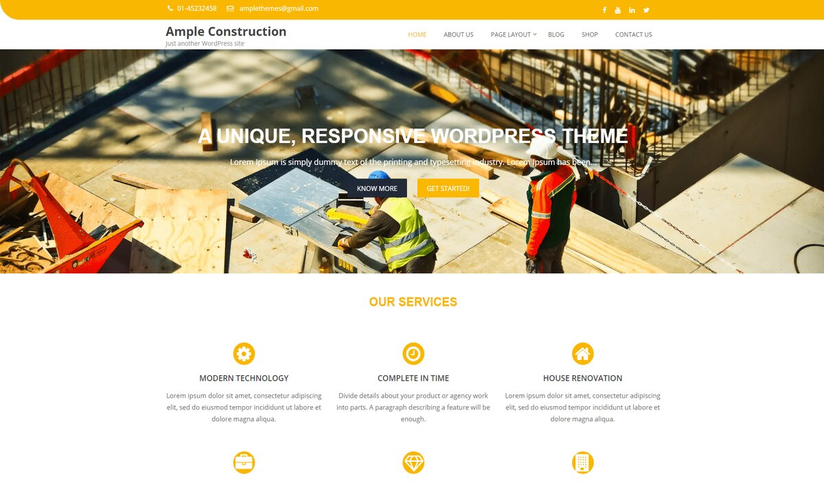 Ample Construction- responsive wp theme for large construction companies