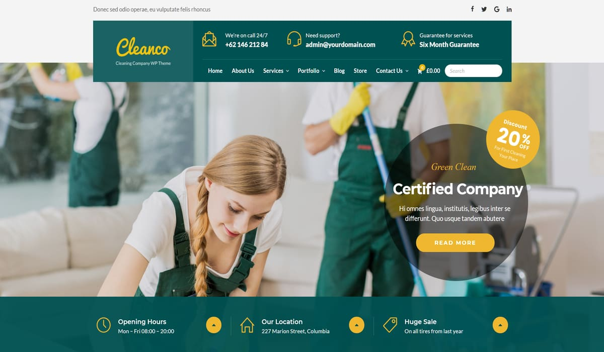 Cleanco – best Cleaning Service WordPress Theme