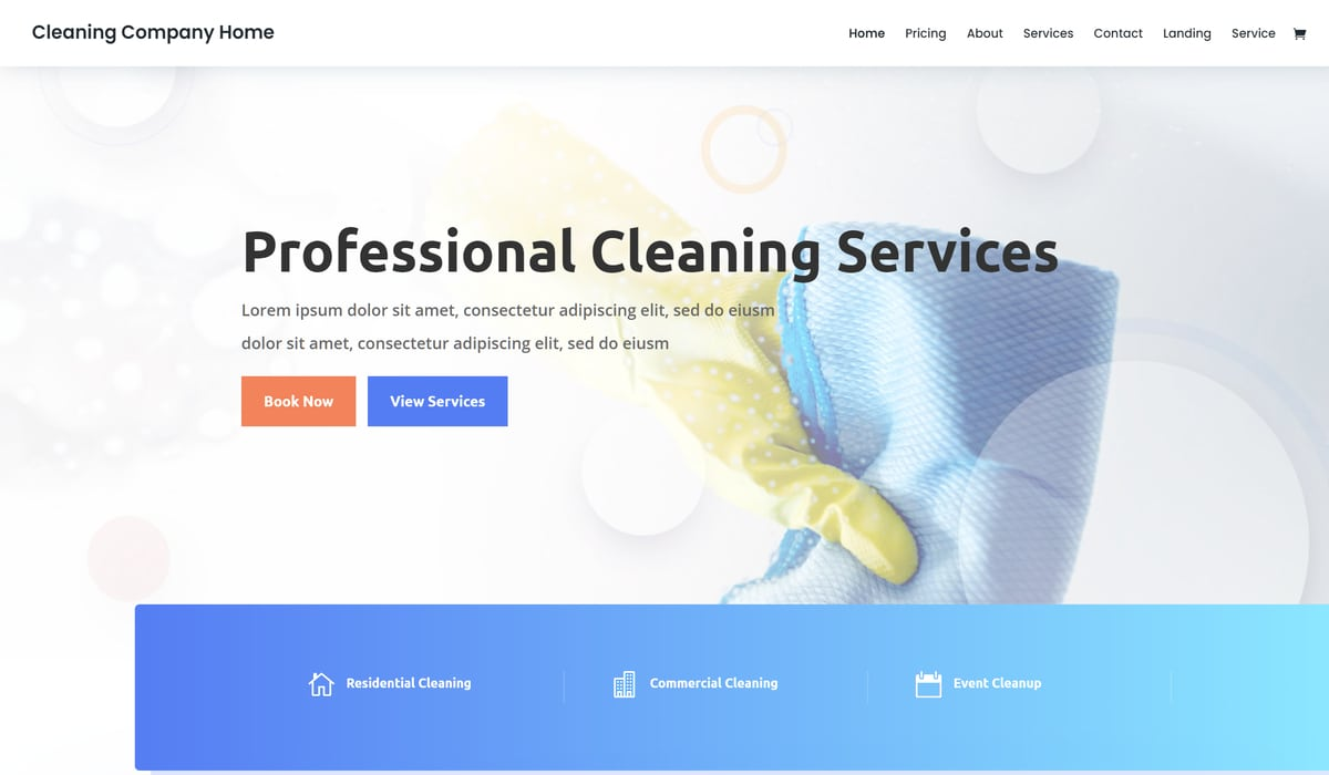 Divi-cleaning company wp theme demo preview image