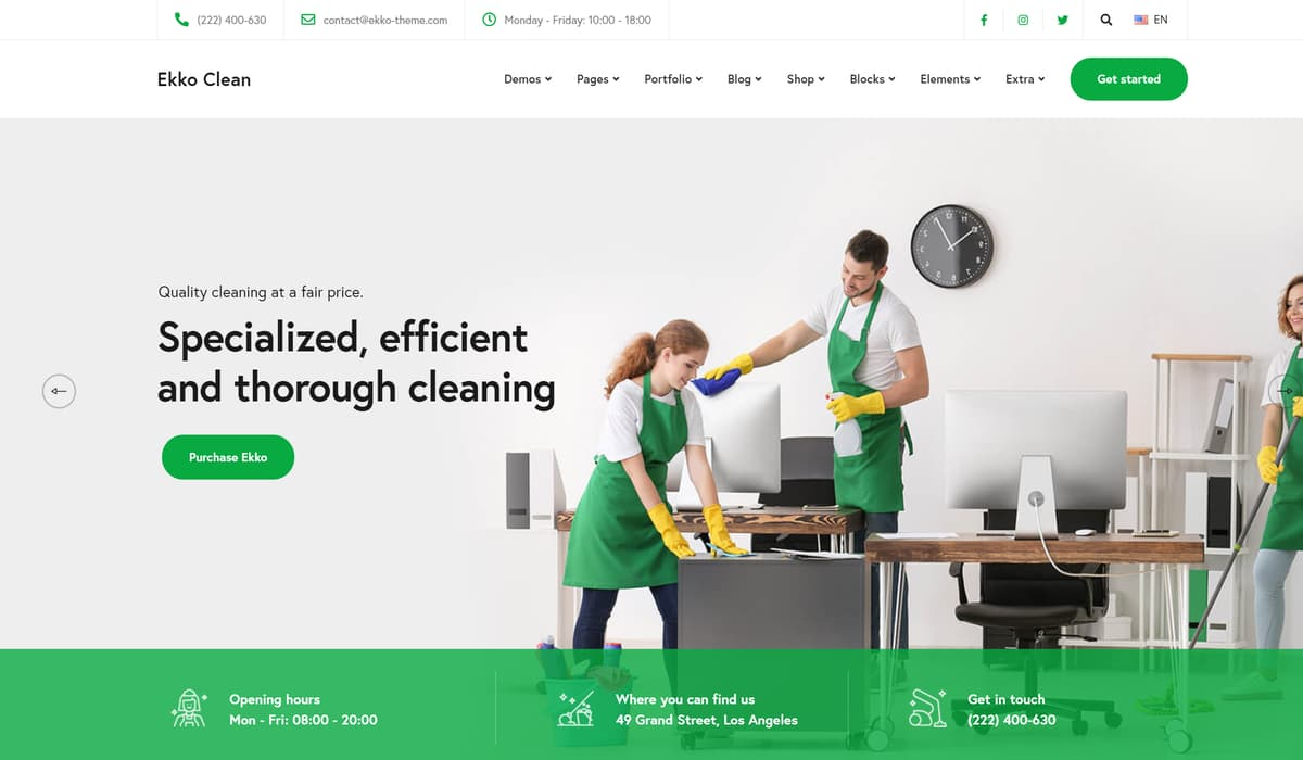 Ekko Cleaning- wp theme for cleaning company
