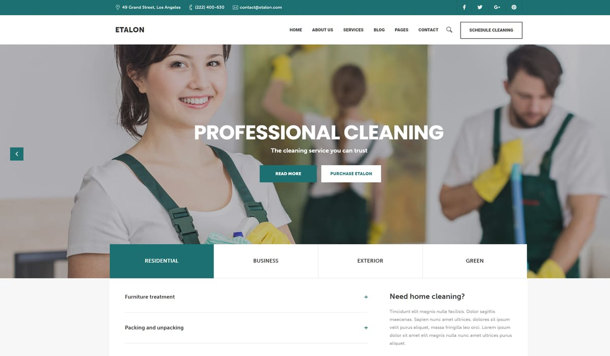 Etalon Cleaning – Multi-Concept WordPress Theme for Professional cleaning Services