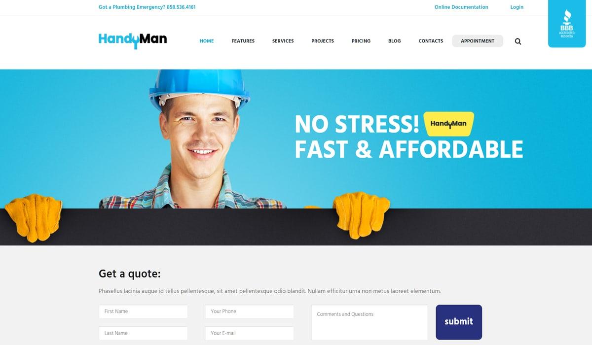 Handyman Repair and Maintenance theme demo screenshot