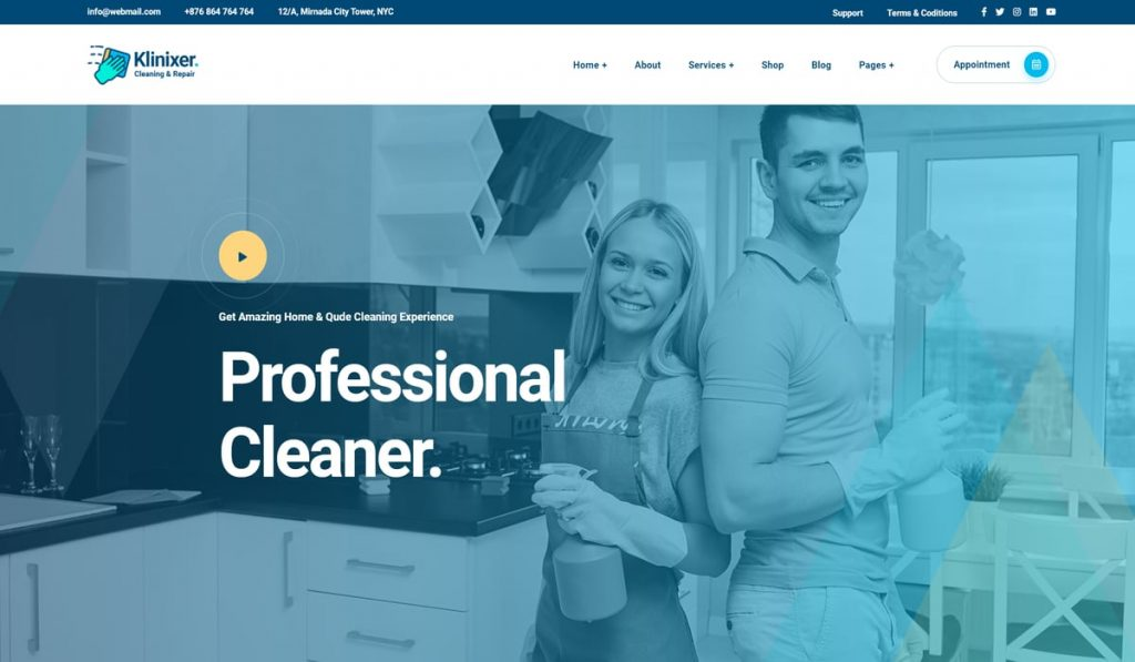 Klinixer – Cleaning Services WordPress Theme