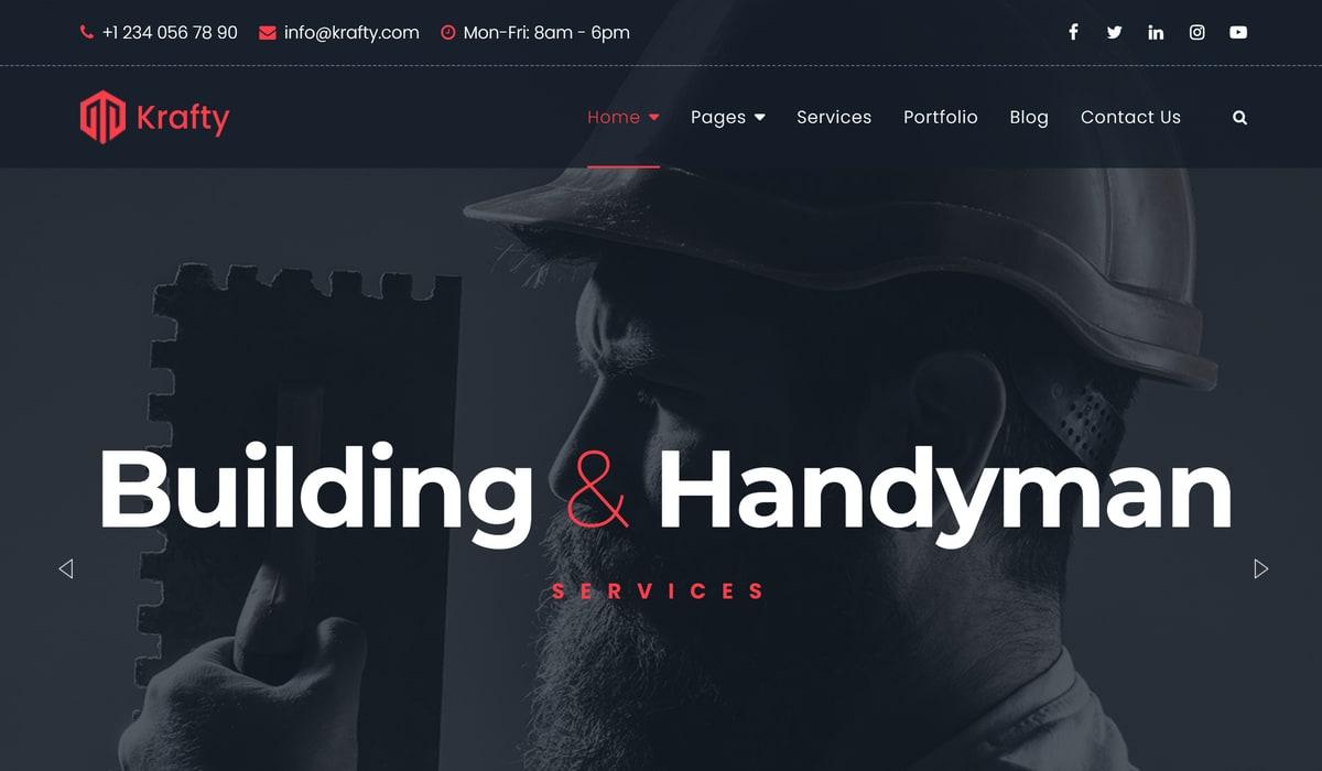 Krafty-handyman and building wordpress theme screenshot