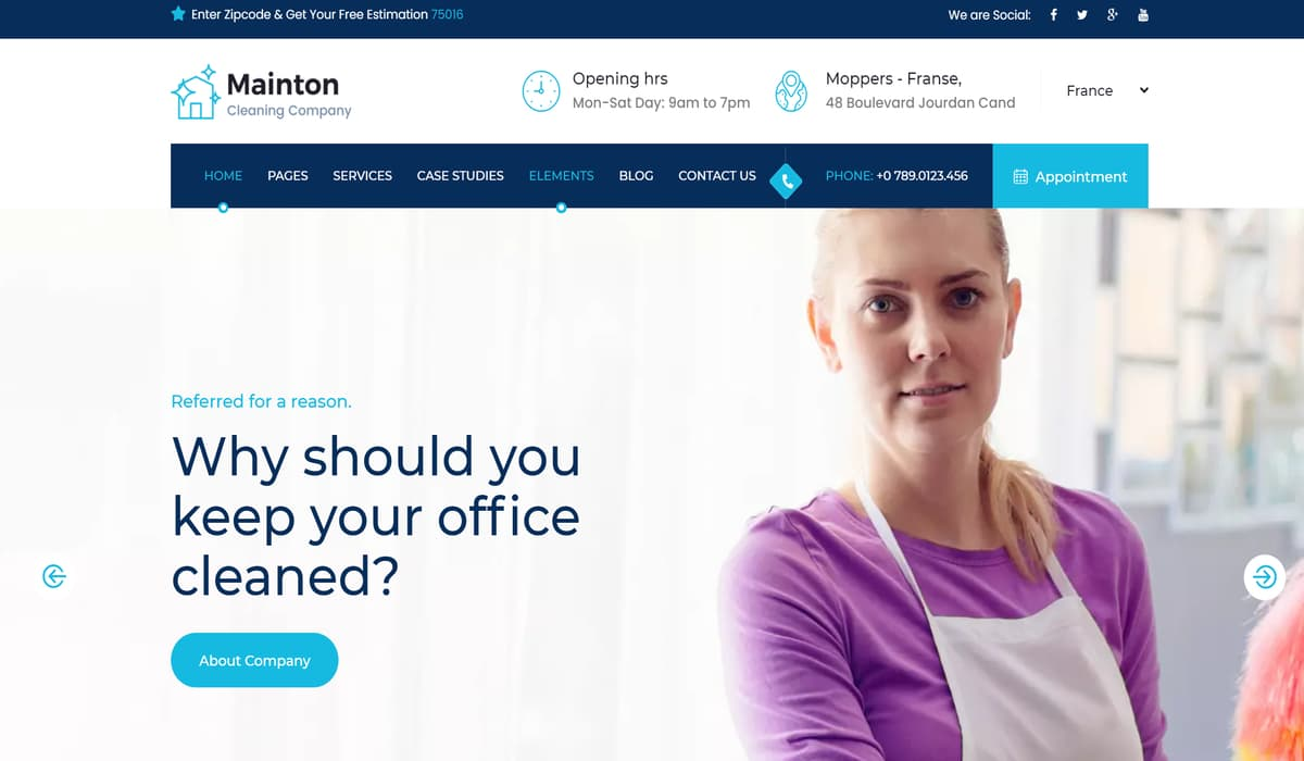 Mainton - Cleaning Services WordPress Theme Preview image
