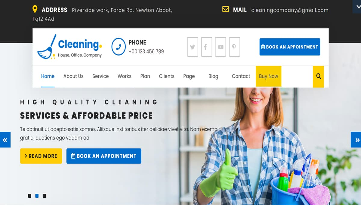 VW Cleaning- free wordpress theme for cleaning companies