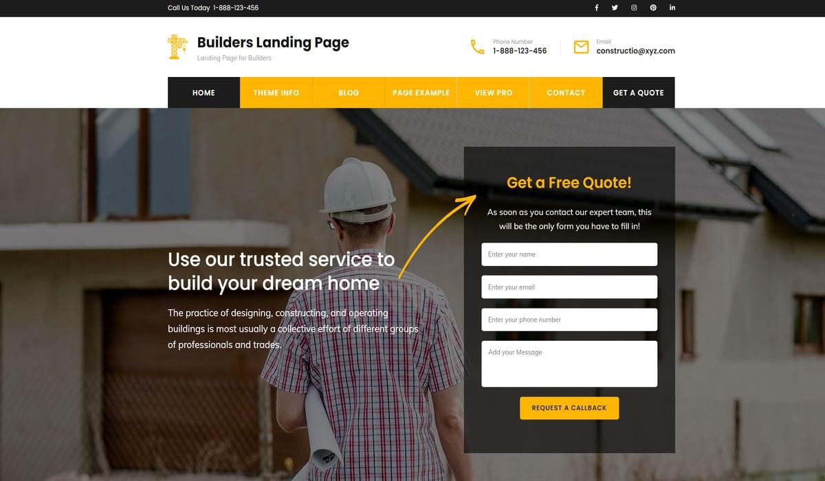 builders landing page-wp construction theme by rarathemes