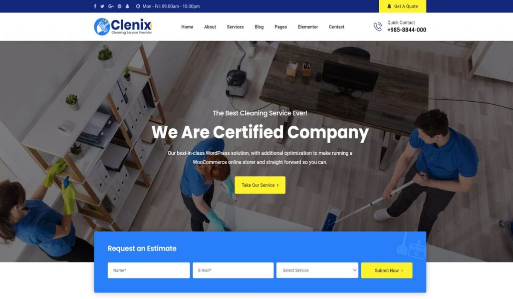 clenix-cleaning services wordpress theme demo image