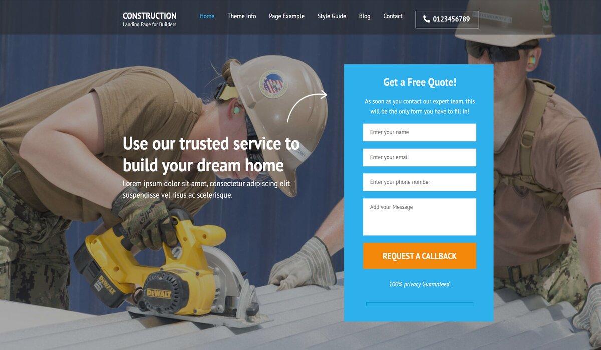 construction company wordpress theme by rarathemes
