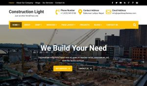 free construction company wordpress theme-construction light