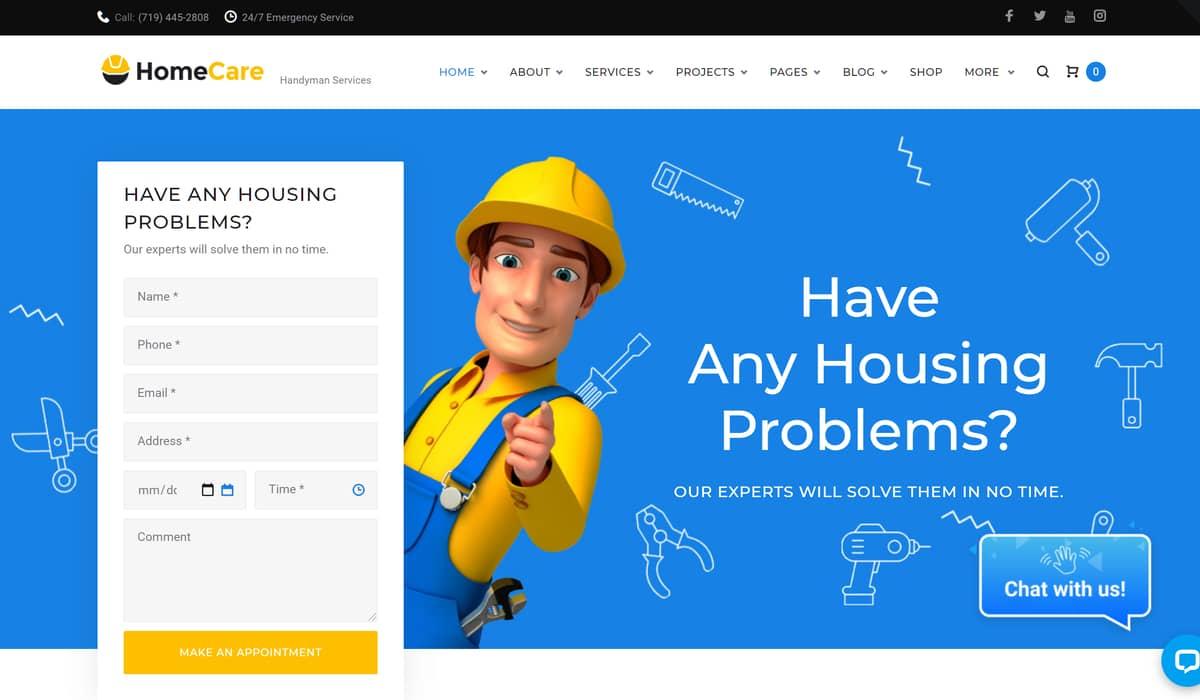 homecare- handyman wordpress themes