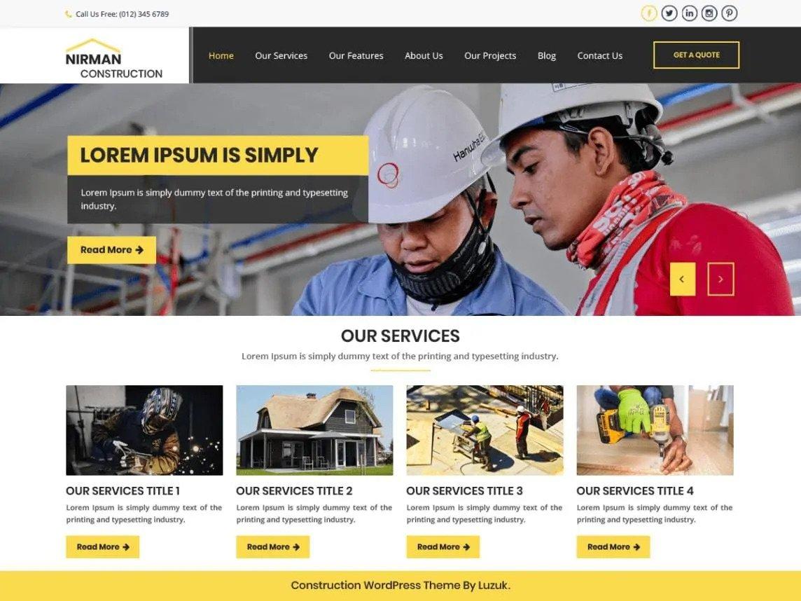 nirman construction- wp construction company theme