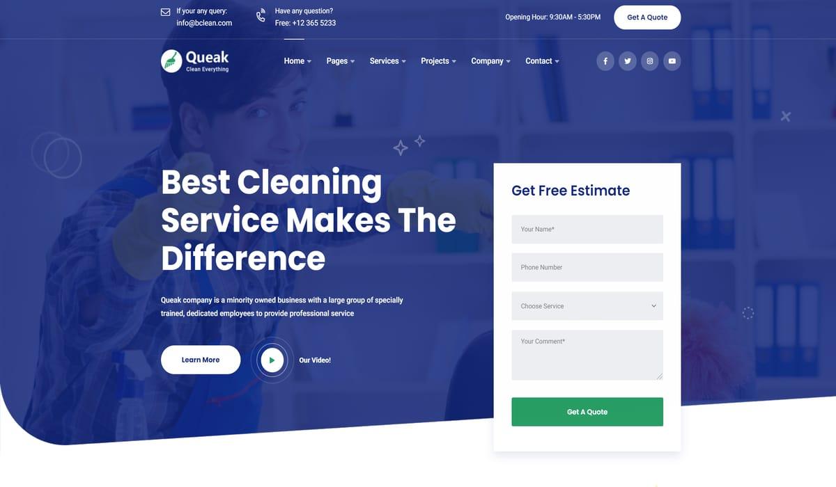 queak- cleaning services wordpress theme demo image screenshot