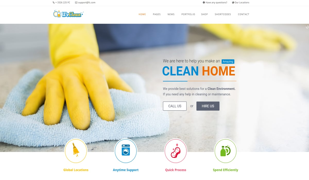 we clean-cleaning company wordpress theme - above the fold preview