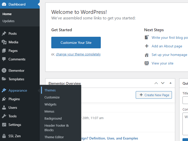 Changing wordpress theme step 2 image- appearance-themes