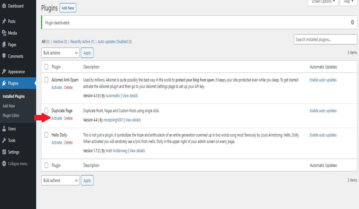 duplicate page plugin install page