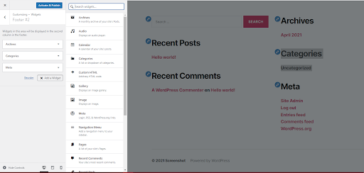 editing footer widget to change the content