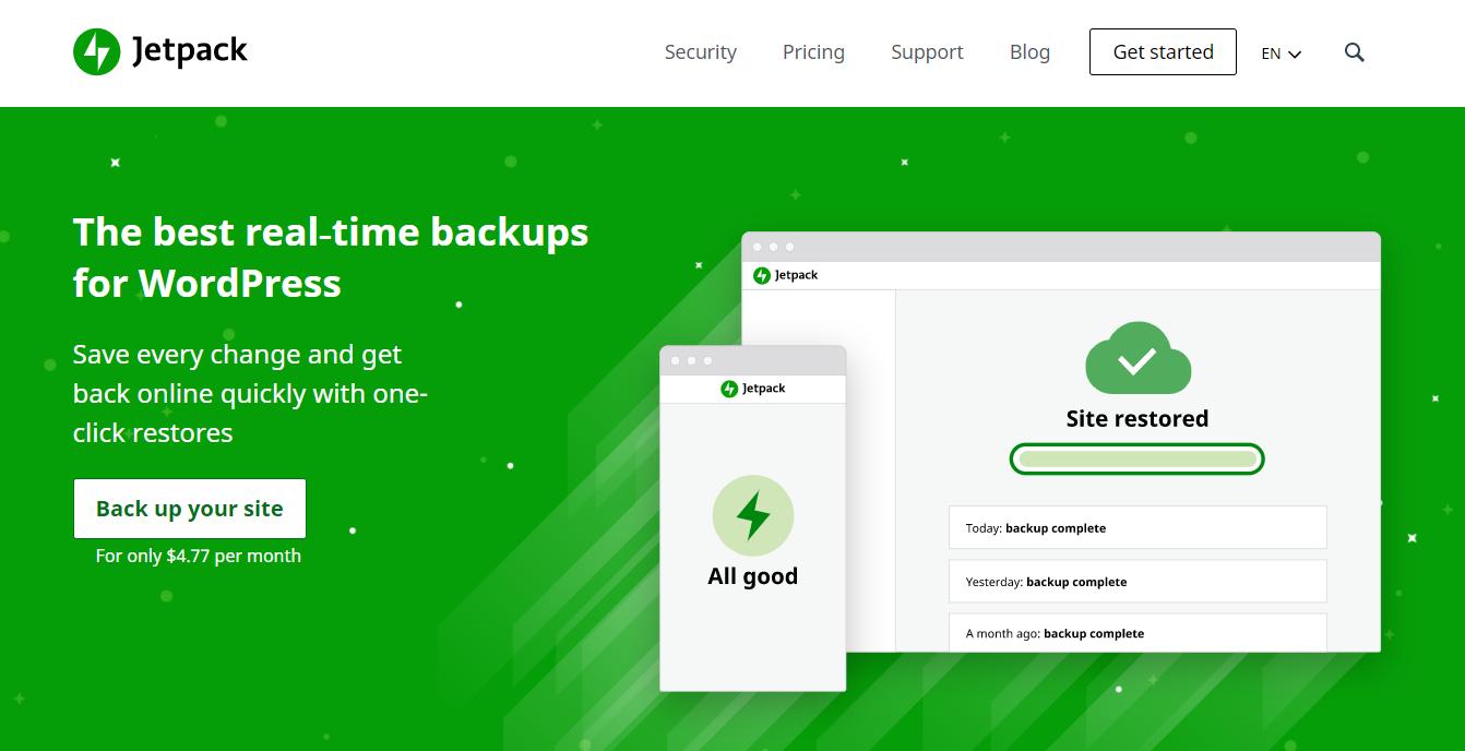 Jetpack- website backup plugin