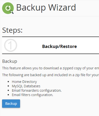 back up wizard information screen