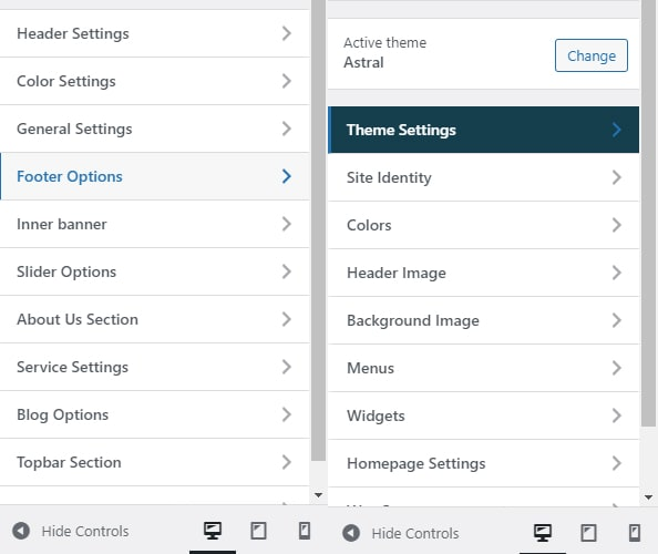 locating footer settings in customizer