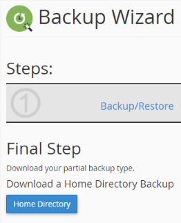 downloading a home directory backup from cpanel
