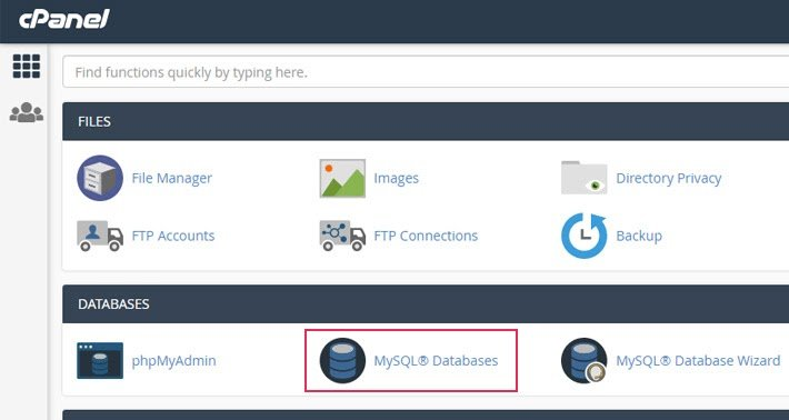 navigating to mysql window to delete website database
