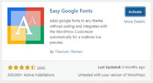 easy google fonts plugin for font change
