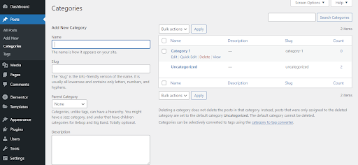 editing categories click
