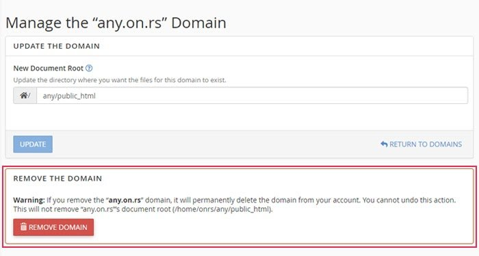 select remove domain to free up the domain