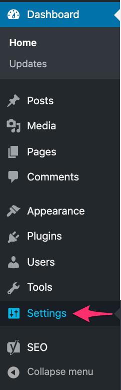 setting navigation on admin dashboard