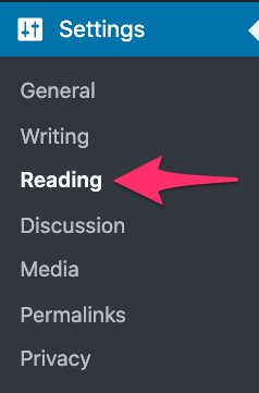 selecting reading section under setting
