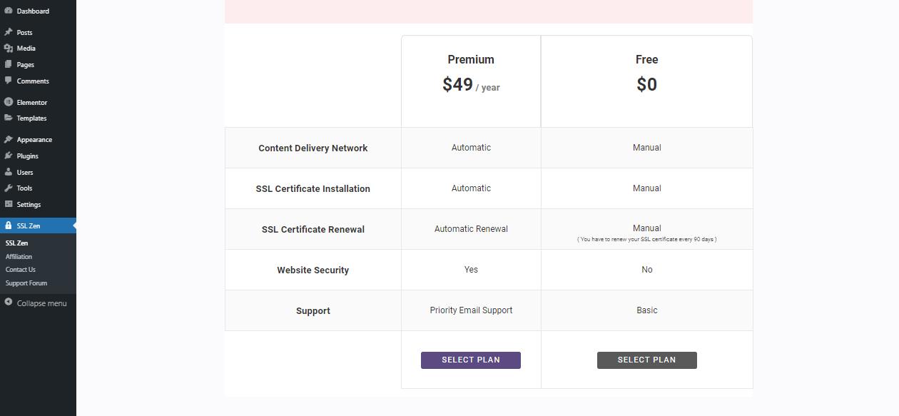 SSL Zen plan window