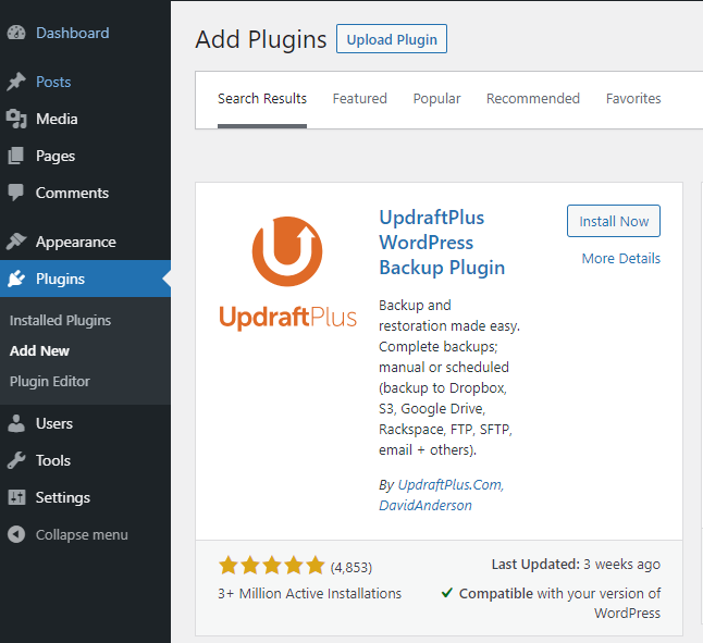 finding updraftplus from wordpress store